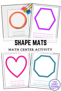 Shape Mats math activity for preschool and kindergarten. Great printable for learning to draw shapes and write. #shapeactivity #mathcenter #funearlylearning