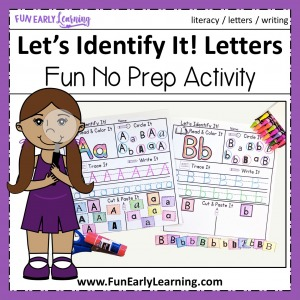 Alphabet Activities for preschool and kindergarten! Fun Let's Identify It Letter Recognition activity for learning letters, alphabet and writing. #alphabetactivity #funearlylearning