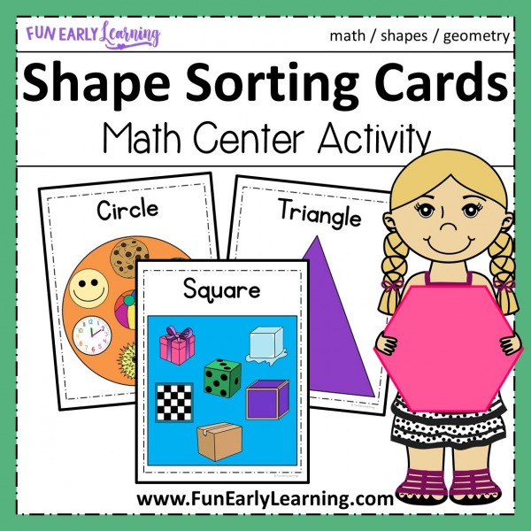 Fun Shape Sorting Cards Activity! Great shapes activity for preschool and kindergarten! Fun hands on printable.