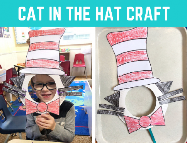 Dr. Seuss free craft! Fun Cat in the Hat paper plate craft with free printable / free template. Fun and quick art project for kids in preschool and kindergarten.