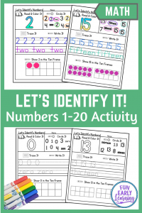 Let's Identify Numbers Activity for Preschool and Kindergarten! Fun printables for kids! Teach number identification, number recognition, counting, and writing.