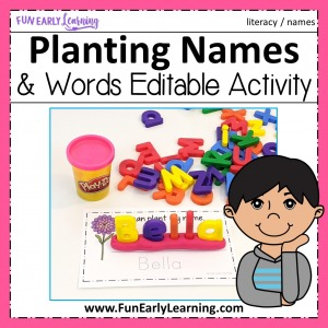 EditablePlanting Names Activity and Editable Planting Words Activity for Preschool and Kindergarten! Fun worksheet printables for children learning to write their name and read and write sight words.