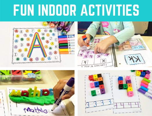 Fun indoor activities for kids at home or in schools! Great learning activities, easy crafts, games and more for preschool, kindergarten, and elementary at home or in schools.