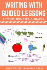 Letters, Numbers & Shapes Worksheets with Guided Lessons Bundle. Fun no prep printable for kindergarten and preschool. Great for teaching handwriting, math, numbers, letters, and shapes.