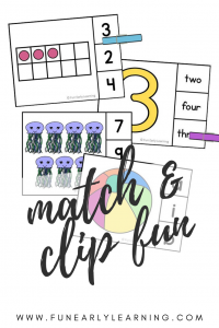 Match and Clip Activities for Literacy and Math! Teach letter identification, phonics, letter sound correspondence, number identification, counting, quantifying, shapes, and colors! Perfect for preschool and kindergarten.