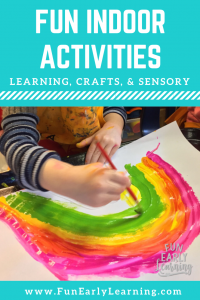 Indoor activities for kids in preschool, prek, kindergarten, and homeschool! Fun learning activities, games, crafts, and sensory play to do while stuck inside an on a rainy day. Great for at home or schools.