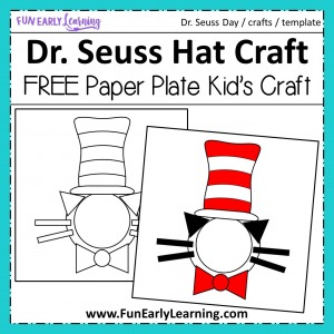 Dr. Seuss Cat in the Hat Paper Plate Kid's Craft! Fun and easy kid's craft with free template. Just print and create!