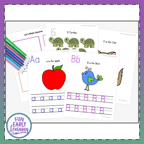 Letters, Numbers & Shapes Worksheets with Guided Lessons Bundle. Fun writing practice with alphabet activities, beginning sounds, number activities, and shape activities for preschool and kindergarten.