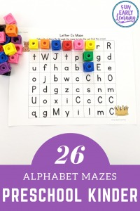 Alphabet Maze Printable and Alphabet Maze Worksheet for preschool and kindergarten! Fun hands-on activity to learn letter identification, letter recognition, and fine motor skills at home or in the classroom.