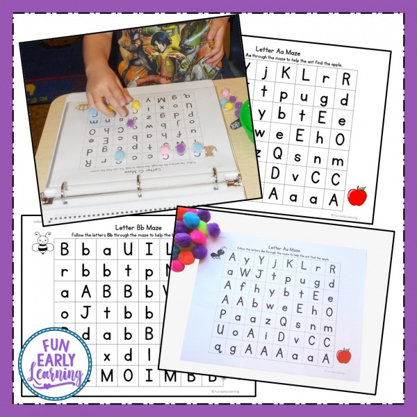 Fun Alphabet Mazes Printable for Preschool and Kindergarten! Includes color and blackline for an alphabet maze printable or an alphabet maze worksheet. Great way to learn letter identification and work on fine motor skills!