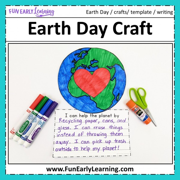 Fun Earth Day Crafts! Free printable Earth Day Crafts for Kids. Writing prompts included with these fun Earth Day Crafts for preschoolers.