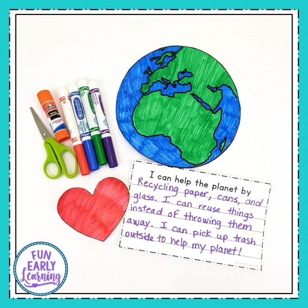 Earth Day Crafts free printable for kids, preschoolers, kindergarten and elementary! Fun and simple Earth Day Crafts for preschoolers and writing prompts included!