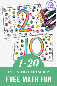 Find and Dot Matching Numbers Activity for Preschool, Kindergarten, and homeschool! Fun free printable for kids to learn number identification, number formation, and  fine motor skills.