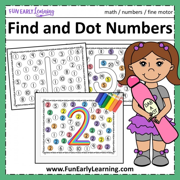 Fun math activities and free printable for preschool and kindergarten! Find and Dot Matching Numbers activity for learning number identification and writing at home and in the classroom.