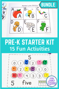 Fun Pre-K Starter Kit Activities Bundle! Great activities for at home learning and in the classroom. Perfect for teaching letters, numbers, shapes, and colors!