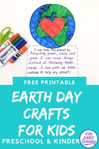 Earth Day Crafts for Kids! Fun and easy earth day project preschool craft. Earth Day crafts preschool and writing prompts free printable.