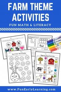 On the Farm Activities for preschool and kindergarten. Fun literacy and math farm theme activities for preschool and kinder at home or in school. Cute farm animal activities.