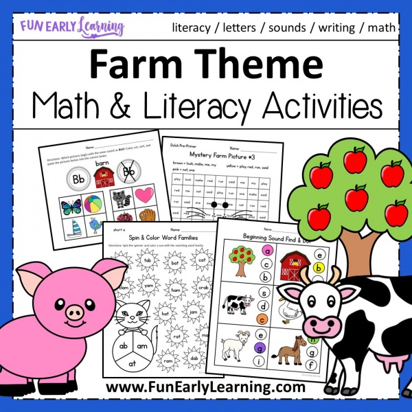 Fun On the Farm Activities for Preschool and Kindergarten! Cute farm animal activities for learning literacy and math. Perfect farm theme activities for preschool and kinder at home or in school.