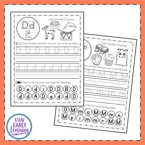 Fun Handwriting Letter Practice for Kids! These no prep worksheets focus on pencil grip, letter identification, phonics, writing, and fine motor skills! Great for students in the classroom and at home.