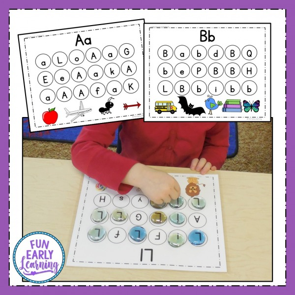Letter Search and Match Alphabet Activity. Learn letters, phonics, and matching with this fun literacy center activity. Great for preschool, kindergarten, and RTI.