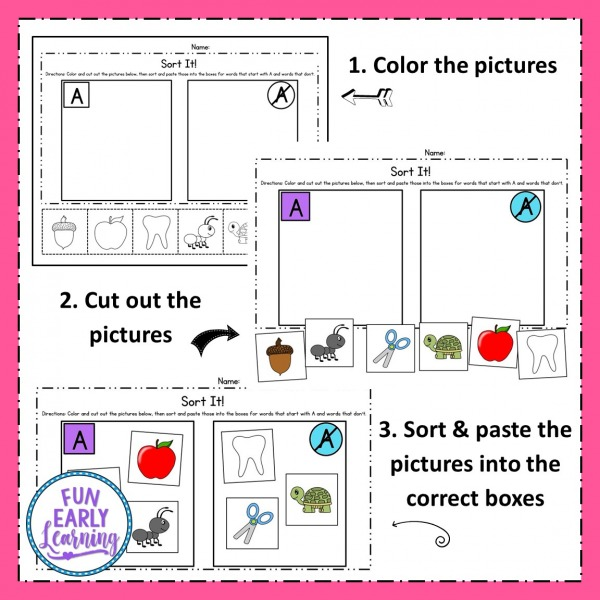 Sort It Phonemic Awareness activity for preschool, kindergarten and first grade! Fun, no prep worksheets for letter sounds / phonics / beginning sounds. #phonemicawareness #funearlylearning