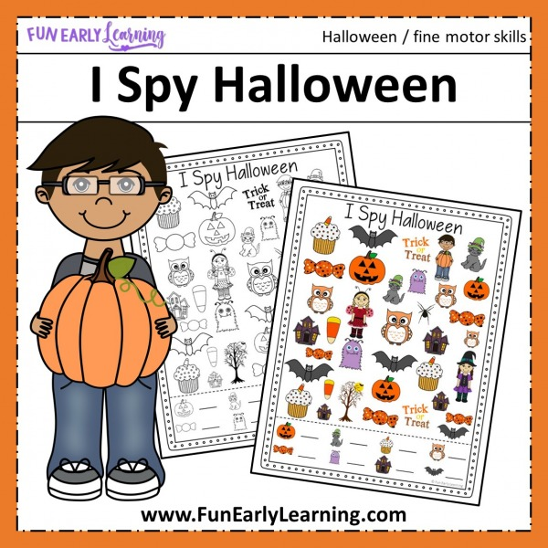 I Spy Halloween free printable! Great for kids in preschool and kindergarten to work on early math skills, counting, and matching! Use at home or in the classroom. #halloweenactivity #freeprintable