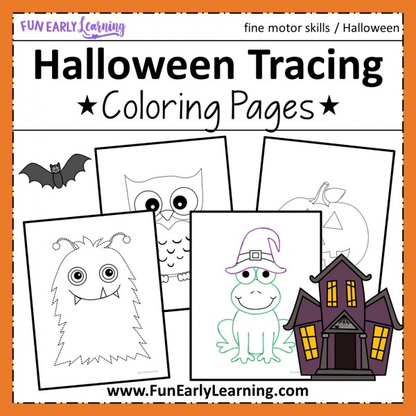 Halloween Coloring Pages Printable Free Tracing Activity! Fun Halloween coloring pages for toddlers and kids!