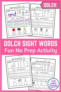 Dolch Sight Word Practice Bundle! Includes pre-primer, primer, first grade, second grade, third grade, and nouns. Perfect for learning sight words and beginnign reading. #sightwords #dolch #funearlylearning