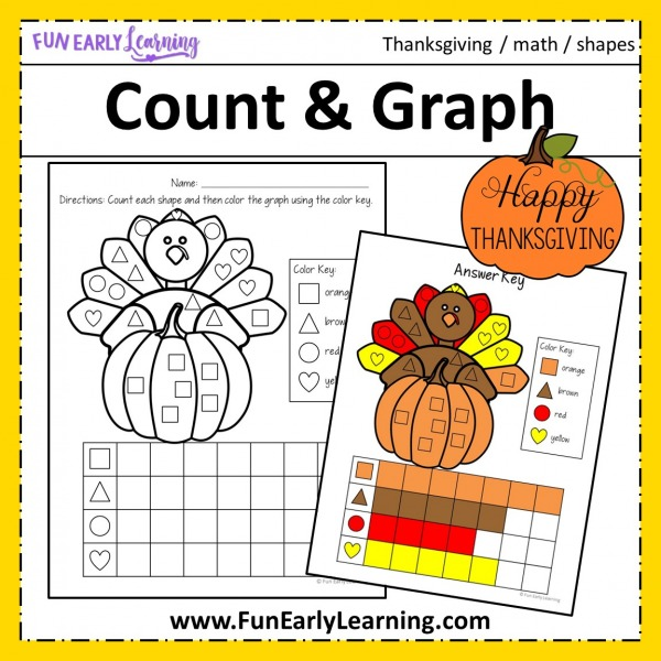 Thanksgiving Count and Graph free printable! Fun math activity for learning counting, matching, and shapes! Great math center and homeschool activity for preschool & kindergarten. #thanksgivingactivity # freeprintable #funearlylearning