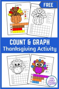 Thanksgiving Count and Graph free printable! Fun Thanksgiving activities for preschool and kindergarten! Teach shapes and counting with these fun coloring pages! #thanksgivingactivity #freeprintable #funearlylearning