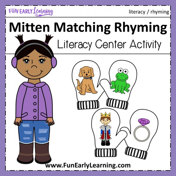 Mitten Matching Rhyming activity! Fun printable for teaching rhyming at home or in school to preschool and kindergarten. #rhyming #literacycenter #funearlylearning