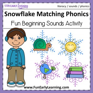 Snowflake Matching Beginning Sounds! Fun activity for learning initial sounds / phonemes in preschool and kindergarten. Great for at home or in school. #phonics #literacycenter #funearlylearning