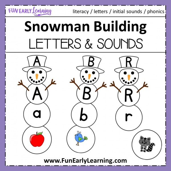 Snowman Building Letters & Sounds Winter Activity. Fun hands-on activity for learning uppercase and lowercase letters, phonics and initial sounds. Perfect for preschool, kindergarten and RTI. #phonics #alphabetactivity #funearlylearning