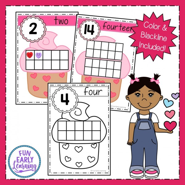 Valentine's Day Cupcake Counting with Ten Frames free printable! Fun free activity for preschool and kindergarten to learn number identification and counting. #freeprintable #valentinesday #funearlylearning