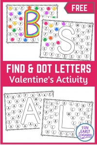Find and Dot Valentine's Day Letters Free Printable! Fun no prep literacy activity for learning letter recognition, letter identification and matching. Perfect for preschool and kindergarten. #alphabetactivity #literacycenter #freeprintable