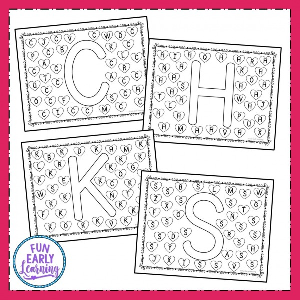 Find and Dot Valentine's Day Letters free printable! Fun letter identification activities and alphabet activities for preschool, kindergarten, schools, small groups, and at home. #alphabetactivity #valentinesday #funearlylearning