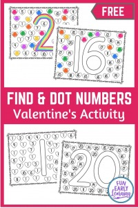 Find and Dot Valentine's Numbers Activity 1-20 for Preschool, Kindergarten, and homeschool! Fun free printable for kids to learn number identification, number formation, and  fine motor skills. Great for distance learning. #valentinesday #mathcenter #funearlylearning