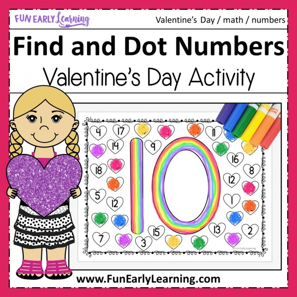 Fun math activities and free printable for preschool, pre k and kindergarten! Find and Dot Matching Valentine's Numbers activity for learning number identification and writing at home and in the classroom. #mathactivity #preschoolmath #funearlylearning