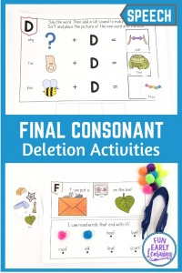 Five fun Final Consonant Deletion Activities! Great for teaching final consonant deletion; final consonant deletion minimal pairs. Perfect for final consonant deletion speech therapy.