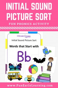 Beginning Sound Activity Initial Sound Picture Sort! Learn beginning sounds, phonics, and letter-sound correspondence with our fun hands-on activity! Great for preschool and kindergarten.