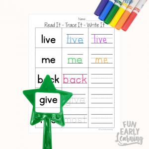 Read It - Trace It - Write It - Fry's Second 100 Sight Words Worksheets Free. Fun sight word worksheets free kindergarten and preschool. Simple no prep printable.