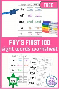 Read It - Trace It - Write It - Fry's First 100 Sight Words Worksheets Free. Fun sight word worksheets free kindergarten and preschool. Simple no prep printable.