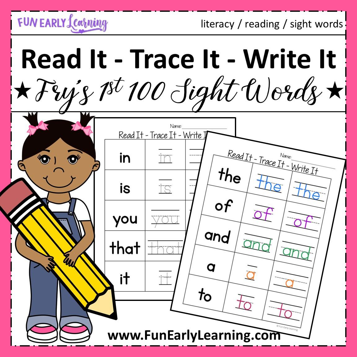Read It Trace It Write It Fry S First 100 Sight Words