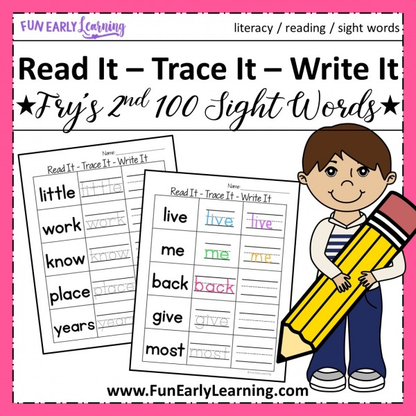 Sight Word Worksheets free kindergarten and preschool. Read It - Trace It - Write It Fry's Second 100 Sight Words worksheets free.