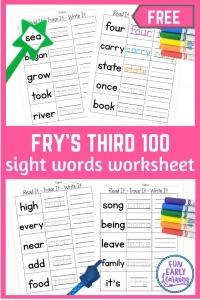 Read It - Trace It - Write It - Fry's Third 100 Sight Words Worksheets Free. Fun sight word worksheets free kindergarten and preschool. Simple no prep printable.