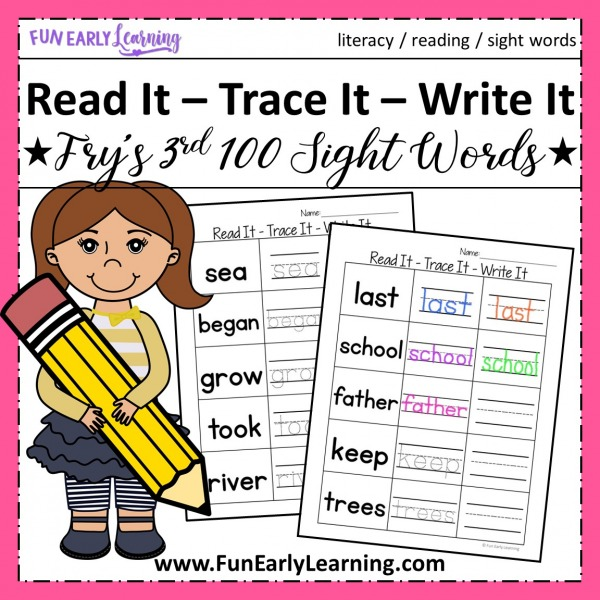 Sight Word Worksheets free kindergarten and preschool. Read It - Trace It - Write It Fry's Third 100 Sight Words worksheets free.