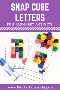 Snap Cube Letters Alphabet Activity! Fun free printable for preschool and kindergarten. Great for letter formation, letter identification, and letter writing.