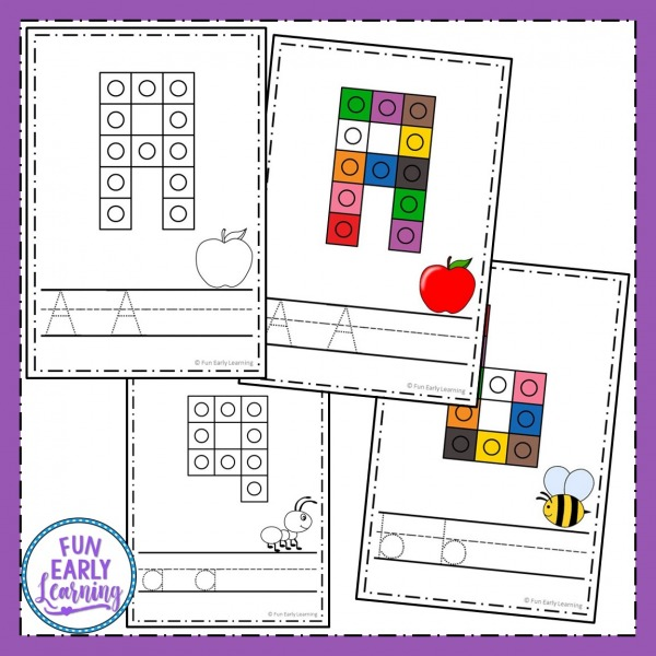 Snap Cube Letters Activity Free Printable. Fun hands-on activity for learning letter identification and writing for kids. Great for preschool, kindergarten, and early childhood. #alphabetactivity #letteridentification #literacycenter #writingcenter #funearlylearning