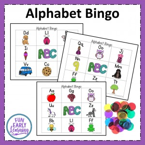 Alphabet and Phonics Bingo game for letter identification and letter sound correspondence. Fun game to play as whole group or small group in preschool and kindergarten.