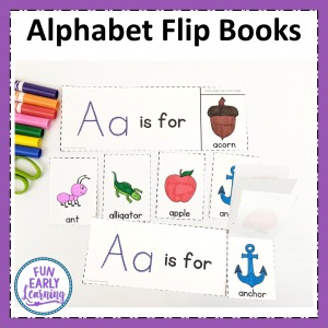 Alphabet Flip Book activity for learning letter identification and letter sounds. Fun cut and paste no prep printable for preschool and kindergarten.